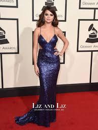 selena gomez navy blue cut out sequin grammys 2016 red carpet dress