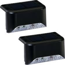 shop portfolio 2x 2 light black solar led railing light kit at
