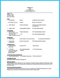 Resume Sample Beginners by Actor Sample Resumes
