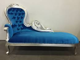 Blue Chaise Hollywood Regency Royal Blue Silver Chaise Lounge Chesterfield
