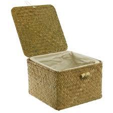 amazon com brown hand woven rattan home storage basket