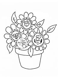 funny cartoon flowers coloring page for kids flower coloring