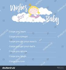 baby shower card template wishes baby stock vector 504952273