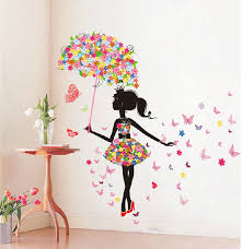 Butterfly Girl Removable Wall Art Sticker Vinyl Decal DIY Room - Home decor wall art stickers