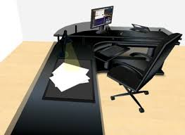 Office Corner Desk Second Marketplace Led Midnight Black Corner Office Desk