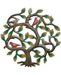 trade haitian metal colorful tree of with birds