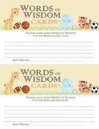 words of wisdom cards baby shower words of wisdom cards jungle safari zoo animals