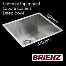 Stainless Steel Deep Sink Kitchen Laundry Sink Hand Made Deep Single Bowl 510mm X 450mm Sq