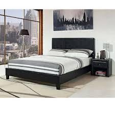 modern black king size platform bed faux leather upholstered