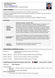 Site Civil Engineer Resume Josh Cv Qaqc Engineer 1