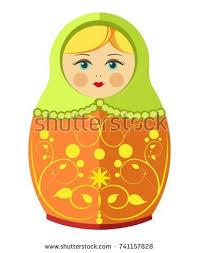 matryoshka doll dressed sarafan flower ornament stock vector