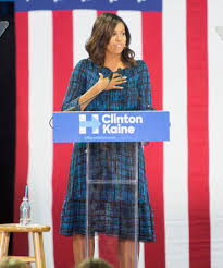 michelle obama stumps for hillary clinton in a checkered dress