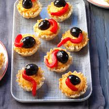 halloween appetizers recipes slithering hummus bites recipe taste of home