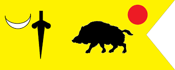 Flag Yellow Sun Flag Of Vijaynagara Royal Insignia Boar Sun Moon And Dagger