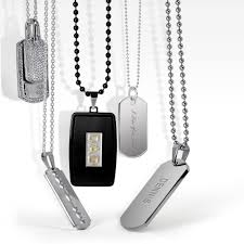 mens engraved necklaces mens dog tag stainless razor blade pendant beveled edge