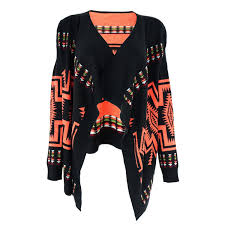 wrap cardigan sweater s tribal aztec blanket wrap cardigan with waterfall open