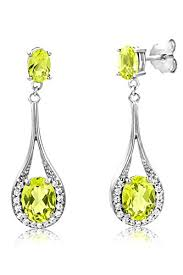 byjoy jewellery byjoy 925 oval shaped peridot dangle earrings jewellery