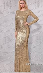 sparkling round neckline long sleeves fitted allover sequins dress
