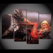 dragon home decor canvas painting 4 piece canvas art black dragon wizard poster