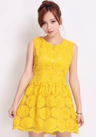 yellow sunflower embroidery zipper sleeveless lace dress midi