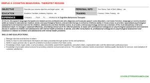 a cognitive behavioral therapist cover letter u0026 resume