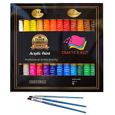 com acrylic paint set 24 colours by crafts 4 all perfect for canvas wood ceramic fabric non toxic vibrant colors