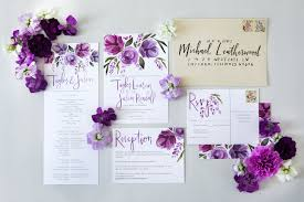 purple wedding invitations purple floral watercolor wedding invitations