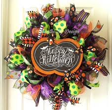 Halloween Mesh Wreaths by Halloween Wreath Fall Wreath Pumpkin Wreath Mesh