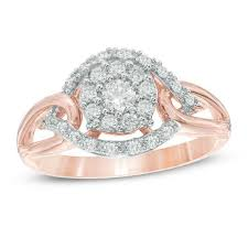 cluster rings 1 2 ct t w diamond open cluster ring in 10k gold diamond