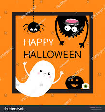 cute happy halloween images happy halloween card square frame flying stock vector 709817743