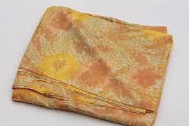yellow print silk or rayon fabric light weight material for
