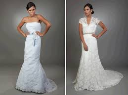 blue lace mermaid wedding dress and white lace v neck bridal gown