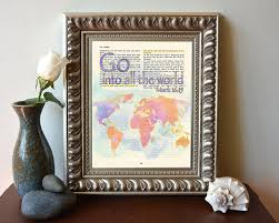 Christian Home Decor Wall Art Amazon Com Vintage Bible Verse Scripture Go Into All Of The