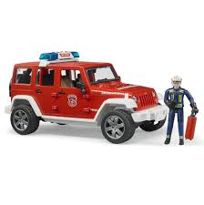 jeep toy 16 jeep wrangler rubicon fire vehicle with fireman by bruder