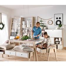 Scandi Dining Table Spot Bench With Drawers In Acacia And White Dining Chairs Cuckoola