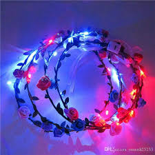 flashing christmas light bulbs led flashing rose flower festival headband veil party halloween