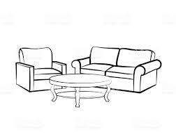 interior furniture sketch with sofa armchair table living room