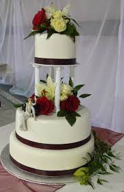 cake pillars ultimately chocolate cakes traditional burgundy and white wedding