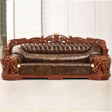 Leather And Wood Sofa Marvellous Leather And Wood Sofa Style European Luxury
