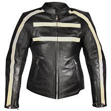 black motorcycle jacket xelement armored womens black leather stripe speedster motorcycle