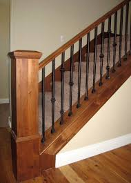 Banister Lake Wood Railing With Wrought Iron Balusters Traditional Staircase