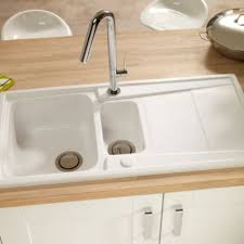 B Q Kitchen Sinks Cooke Lewis Passo 1 5 Bowl White Gloss Ceramic Sink Drainer