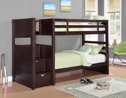 furniture natural polish wooden bunk bed with stairs using