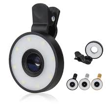 macro lens ring light 2018 aix 6 in 1 smartphone clip on multi camera lens with led flash