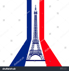 French Flag Eiffel Tower Vector Eiffel Tower Silhouette Skyline French Stock Vector