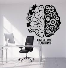 vinyl wall decal brain teamwork gear creative office decor vinyl wall decal brain teamwork gear creative office decor stickers 1317ig