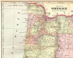 map of oregon vintage oregon map etsy