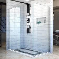 30 Shower Door Shop Dreamline Linea 30 In To 30 In W Frameless Chrome Fixed