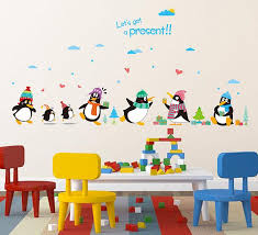 Penguin Present Wall Decal Sticker Kids Room Nursery Wall Art - Kids rooms decals