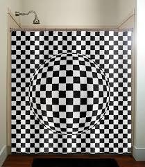 Check Shower Curtain Zen Optical Illusion Geometric Checkered Shower Curtain